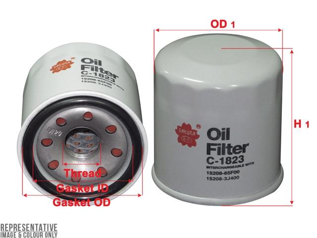 C-1823 - Oil Filter - Sakura Filters Equivalent - C-1823