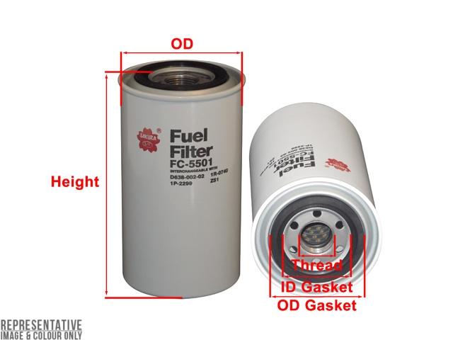 FC-5501 - Fuel Filter - Sakura Filters Equivalent - FC-5501